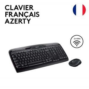 Un ensemble clavier AZERTY et souris sans fil très pratique