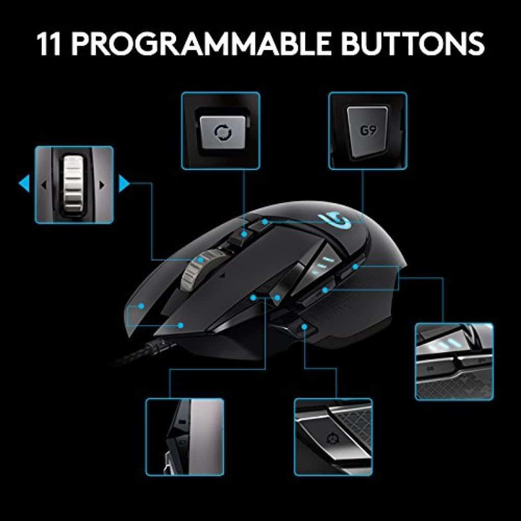 La Souris gaming RVB personnalisable Logitech Proteus Spectrum dispose de 11 boutons programmables