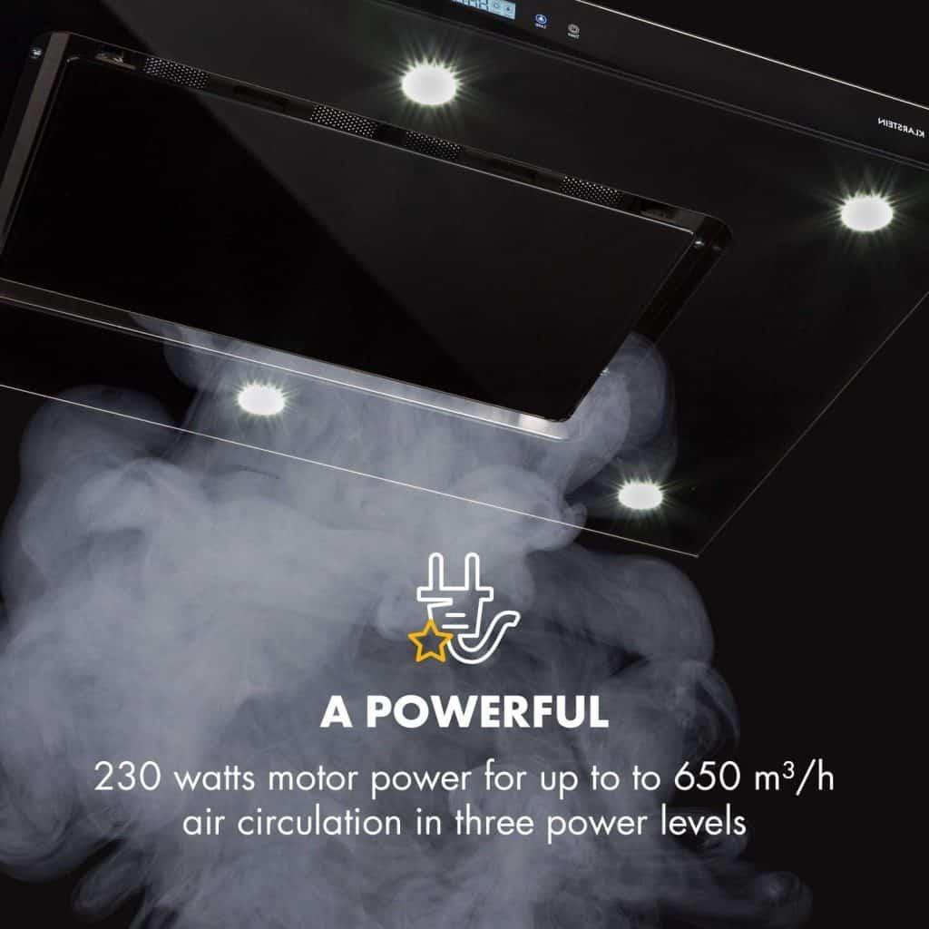 Un moteur puissant de 230 W pour une circulation d'air allant jusqu'à 650 m3 / h
