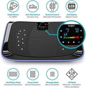 La Bluefin Fitness Plateforme Vibrante et Oscillante 4D est équipé de haut-parleurs intégrés Bluetooth et d'un écran LCD